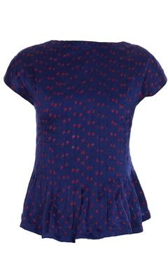 Navy blue silk bhandani top styled blouse.