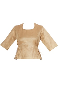 Gold cotton peplum style blouse with tassels