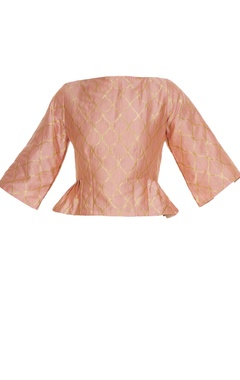 Pink brocade peplum blouse with side flared detail