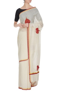 Cream & red handloom cotton zari sari with unstitched blouse