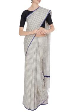 Cream & blue handloom cotton zari sari with unstitched blouse