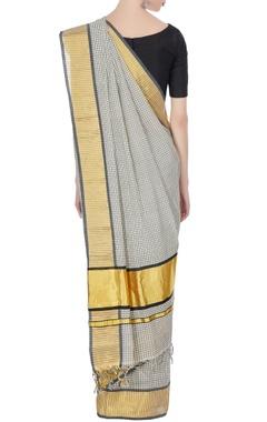 Cream & gold zari work handloom sari with unstitched blouse