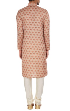 Multicolored printed satin kurta set