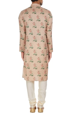 Floral printed satin kurta set