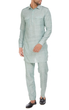 Cotton linen pathani kurta with pants