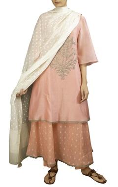 Pink soft silk tikki butta anarkali kurta with off white dobby dupatta