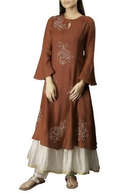 Myoho Burgundy cotton linen embroidered layered kurta dress