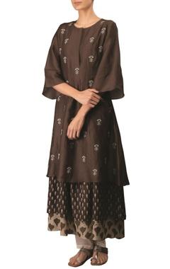 Myoho Coffee cotton linen embroidered long flared & layered kurta