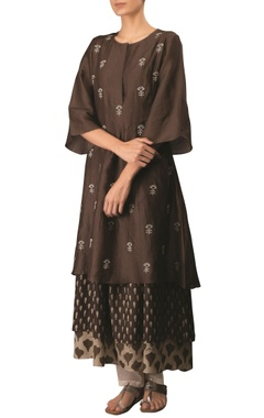 Coffee cotton linen embroidered long flared & layered kurta