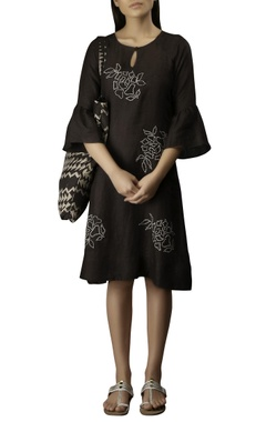 Myoho Coffee cotton linen embroidered short dress