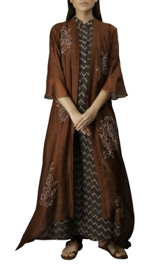 Myoho Burgundy & coffee thin kora & cotton silk embroidered slim jacket with a-line dress