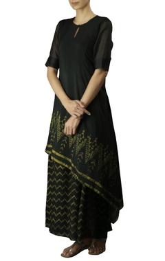 Myoho Bottle green cotton silk embroidered double layered dress