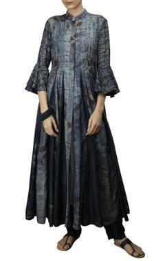 Indigo cotton silk godet jacket with flat collar