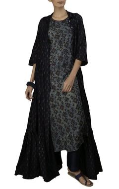 Myoho Indigo cotton silk a-line dress with fish print tiered jacket