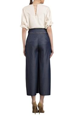Navy blue cropped denim palazzo pants