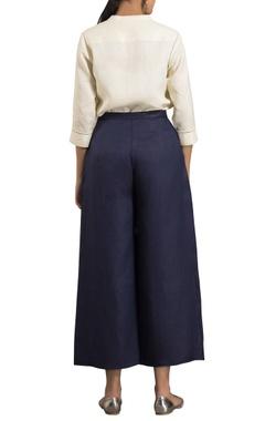 Blue high waist flared trousers