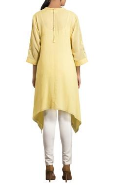 Yellow mukaish work embellished high low kurta