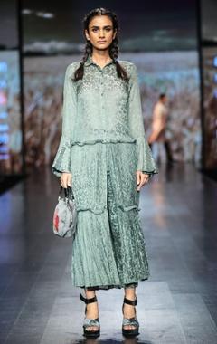 Shruti Sancheti Button down gathered dress with pants