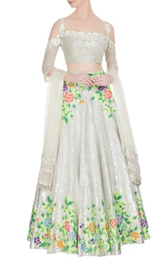 Ivory resham thread embroidered lehenga with cold-shoulder blouse & dupatta
