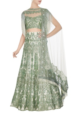 Manish Malhotra Ivory & green net sequin embroidered lehenga set