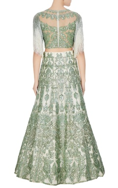 Ivory & green net sequin embroidered lehenga set