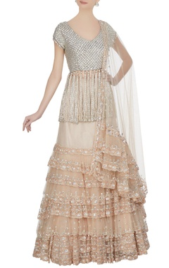 Manish Malhotra Beige tulle net tiered lehenga with swarovski embroidered blouse & dupatta