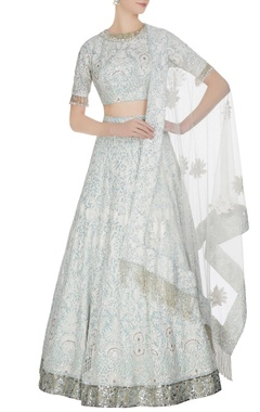 Ivory & blue kashmiri net sequin lehenga with blouse & dupatta