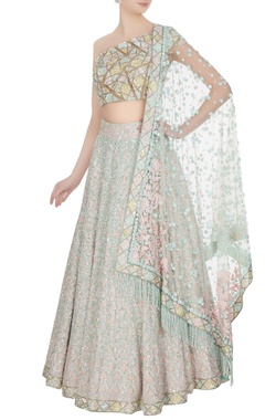 Manish Malhotra Aqua blue & pink kashmiri embroidered lehenga set