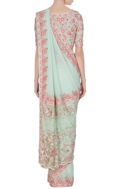 Mint green & pink resham embroidered georgette saree with blouse