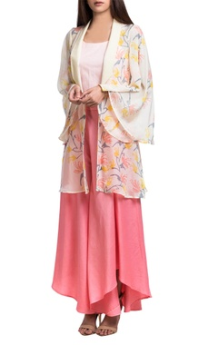 Pink & peach hand-dyed & block printed jacket set