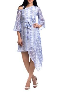 Lavender pepper silk block printed asymmetric mini dress
