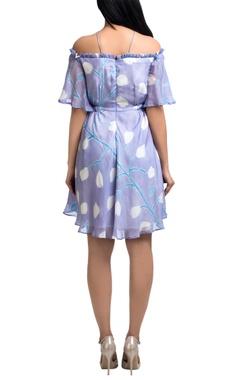 Lavender pepper silk brush painted cold-shoulder mini dress