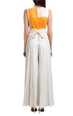 White & orange double georgette overlap jumpsuit