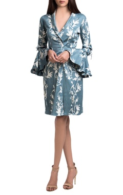 Buffalo grey floral block printed jacket dress