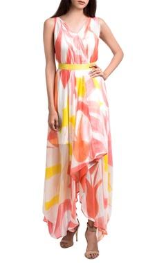 Orange & yellow hand dyed & brush painted maxi dress