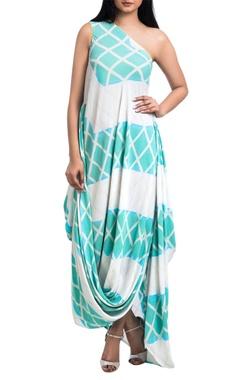 Sea green & white one-shoulder draped maxi dress