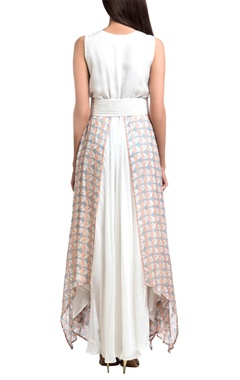 Grey & white block printed maxi dress with corset belt