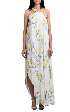 White double georgette one-shoulder block printed maxi dress