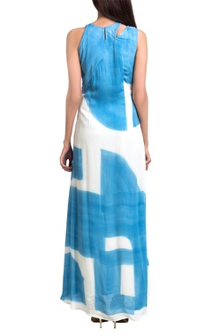 White & blue abstract brush painted maxi dress