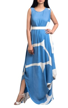 Blue & white brush painted georgette maxi dress with white belt