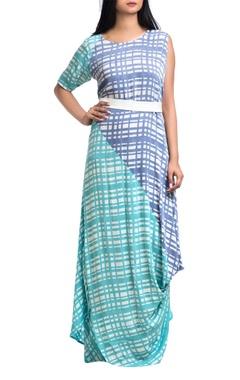 Sea green & lavender georgette one-shoulder dress with belt
