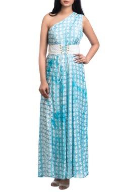 Blue geometric block printed maxi dress with corset belt