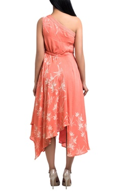 Coral asymmetric floral one-shoulder dress