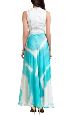 Teal & white brush painted overlap maxi dress