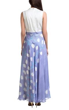 White & lavender block printed floral maxi dress