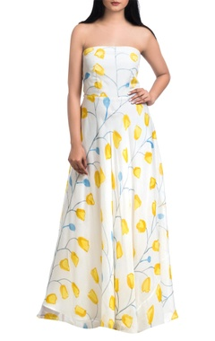 Off-white & yellow hand painted off-shoulder maxi dress