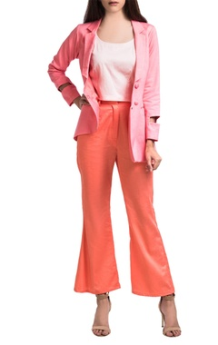 Pink hand-dyed overlap jacket with flared pants