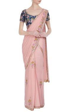 Rajat & Shraddha Pink rose pre-draped saree with floral sequin blouse