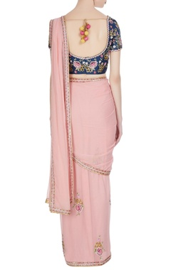 Pink rose pre-draped saree with floral sequin blouse