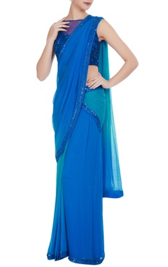 Rajat & Shraddha Cobalt blue chiffon sequin embroidered pre-draped saree with blouse
